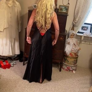 Fredericks of Hollywood longblack satin nightgown